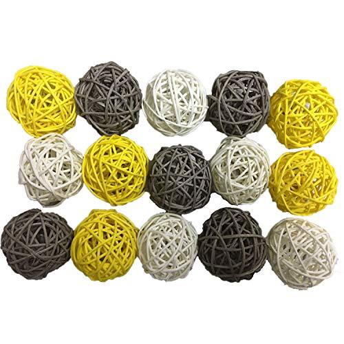 Anjing - 15 Bolas de Mimbre de Color Gris y Amarillo para decoración de bautizos, Bodas y bautizos