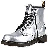SCARPE VITA Damen Stiefeletten Outdoor Worker Boots Metallic Schnürschuhe 160978 Silber 36