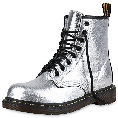 SCARPE VITA Damen Stiefeletten Outdoor Worker Boots Metallic Schnürschuhe 160978 Silber 38