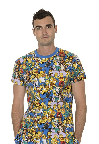 The Simpsons Multi Character Collage Blau T-shirt Tee (Erwachsene X-Large) (T-shirts Simpsons Tees)