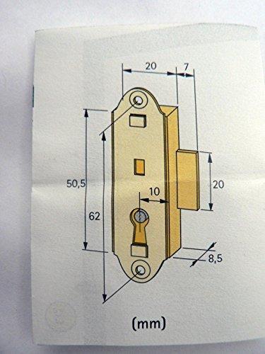 1 Briefkastenschloss gleichschließend 10 mm vernickelt