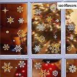 Movein Noël Flocons De Neige Stickers, Flocons De Neige Stickers Noël, 120 Autocollants de fenêtre de Flocons de Neige, Images de fenêtres dorées et Blanches