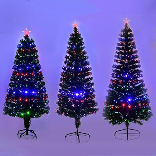 COSTWAY LED Weihnachtsbaum Künstlicher Tannenbaum Christbaum beleuchtet 150/180/210cm Grün mit Glasfaser-Farbwechsler (180cm)