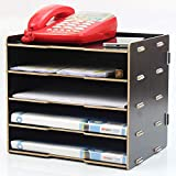 TZZ Desktop-Frame-Dokumente Rack ordentlich Desktop-Organizer für Bürobedarf Haushalt täglichen Bedarfs Kosmetik Lagerung schnell & einfach DIY Montage (Farbe : SCHWARZ)