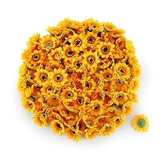 T4U 100Pcs Cabezales de Girasol de Seda Artificial Falsas Cabezas de Girasol Amarilla para Casa Jardín Boda Partido Decoración Guirnalda DIY Arte (Diámetro: 7cm)