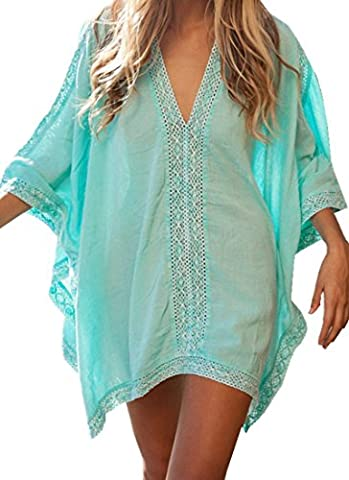 Summer Cover Up Kaftan - BienBien Womens Sexy V-neck Loose Beach Dress Long Sleeve Kimono Oversized