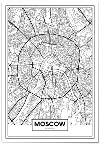 Panorama® Póster Mapa Moscú 50 x 70 cm | Impreso