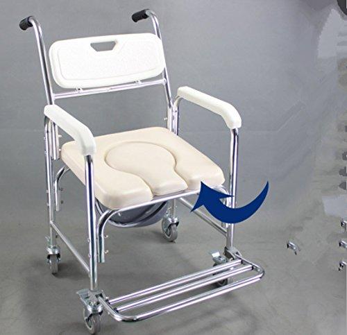 DDPP Duschkabine Kommode mit Armlehnen mit Gesundheits Leitung, Toilette mit Rollen Duschstuhl mit Rollen (4 Radbremsen), Toilettensitz Lehne und Sitz,2 - 4 Armlehnen