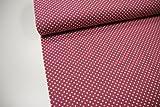 Stoff / 50cmx140cm / Kinder / beste Jersey-Qualität / Jersey Punkte naturweiß auf altrosa / pink