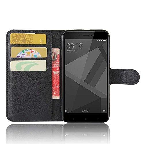 """SMTR Xiaomi Redmi 4x (5\"""") Wallet Tasche Hülle - Ledertasche im Bookstyle in Schwarz - [Ultra Slim][Card Slot][Handyhülle] Flip Wallet Case Etui für Xiaomi Redmi 4x"""