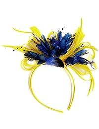 Amarillo y Azul Pluma Tocado para cabello diadema boda y Royal Ascot de carreras Mujer