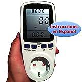 Medidor de Consumo Eléctrico con pantalla LCD grande (Vatímetro, factor de potencia, Watiometro, Contador Electricidad, Amperímetro, Voltímetro, Power