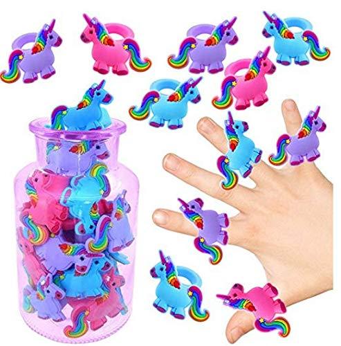 Nider Anillos de Unicornio Anillos de Dibujos Animados con Azul, Morado, Rojo, Regalo para el día de los niños, Juego de 15 Piezas