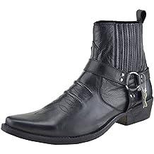 Mens Cowboy Leather Ankle Boots Biker Boots