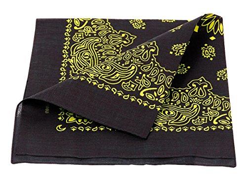 Bandana paisley multifunzione classica di colori diversi foulard scialle collo rocker biker motociclista motorcycle pirata accessorio hip hop cappellino cowboy bracciale, Bandana BA-200-210:nero giallo paisley 210