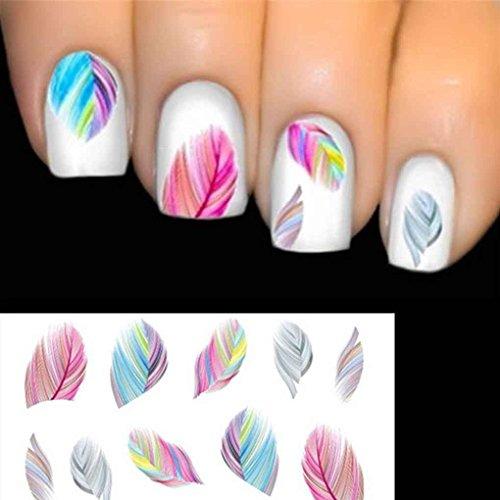 Focus Nagel-Feder-Art Wasser-Übergang Abziehbild-Aufkleber Regenbogen -
