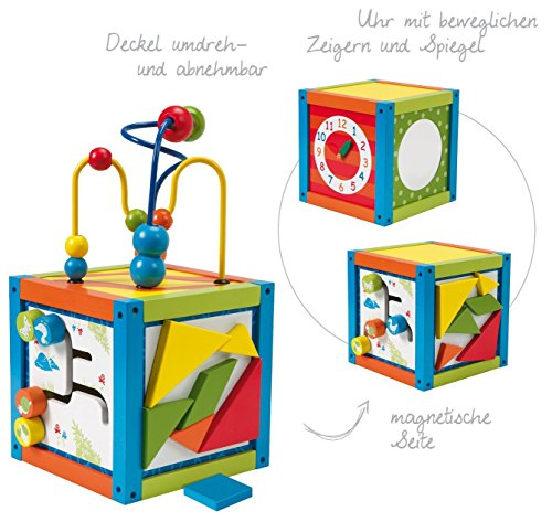 ⚽ 2 STÜCK ROBA Holzspielzeug Spielcenter Aktivwürfel mit Spieluhr und Magnetformen, Motorik Spielzeug Baby ⚽ thumbnail