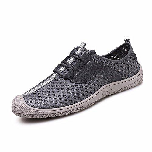 Uomo Scarpe Casual Estate Net Scarpe Traspiranti Cava Sneakers Outdoor Alpinismo Antiscivolo Scarpe Uomo Scarpe Casual Gray