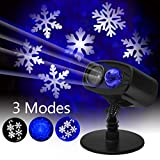 Christmas Projector Light LED Landscape Lights Rotating Snowflake and Blue Ocean Wave Image Motion Outdoor Spotlight for Christmas Halloween Party Garden Yard Wall Decoration