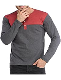 Light Grey-light Red Henley Men Tshirt