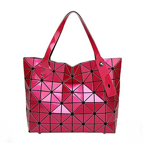 Frauen Falten Geometrische Schultertasche Art Und Weise Beiläufige Handtasche RoseRed