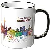 Wandkings Tasse, Schriftzug 'Guten Morgen Düsseldorf!' mit Skyline - SCHWARZ