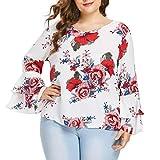 BHYDRY Plus Size Damen Bell Sleeve Lose Polka Flower Shirt Damen Casual Bluse Tops (XL.Weiß)
