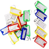 Grids London ® 10 x Key Tag ID Holder Plastic Name FOB Label Small Key Chain Tags Assorted Colour Pack