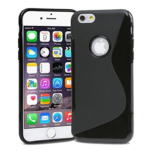 wortek® TPU Silikon Schutzhülle S-Line + extra Grip mit Logoausschnitt Apple iPhone 6 Plus (5,5 Zoll) Transparent iPhone 6S Plus - Schwarz