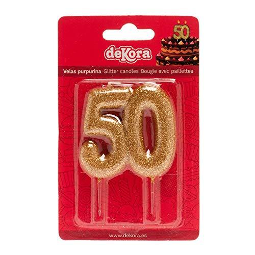 Vela para Decorar Pasteles en Forma de Número 50. Oro, 8x6cm