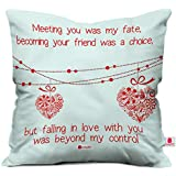 Indibni Valentine Special Gift Love Printed Cushion Cover 12X12 with Filler White Fall in Love Heart for Admirer