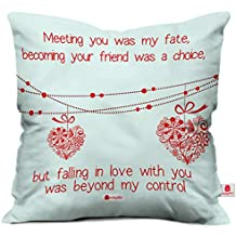 indibni Indigifts Printed Micro Satin, Fibre Cushion Cover with Filler (White)