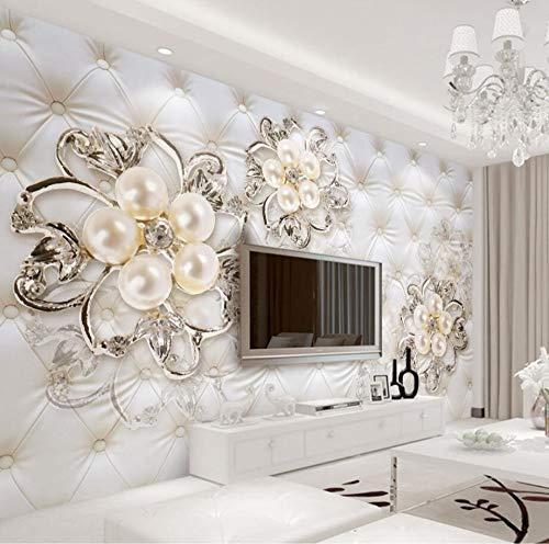 Minyose Custom Wallpaper Home Decorative Fresco 3d Vintage European Elegant Pearls Flower TV Backdrop Wall mural 3d wallpaper-140cmx100cm -
