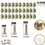 Schrauben-/Muttern-Sortiment, M6x 15/20/25mm, Zink versilbert, Sechskant-Antrieb, Zylindermuttern für Möbel, Kinderbetten, Kinderkrippen, Betten und Stühle, 60 Stück