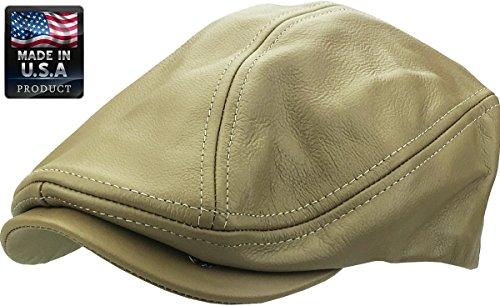 1d25773a12161 KBETHOS Genuine Leather Gatsby Flat Ivy Ascot Hat Cap - KHK - S-M