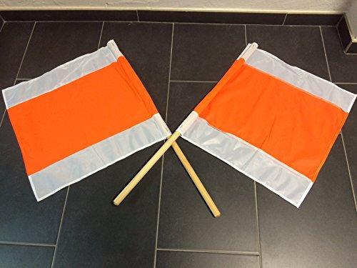 2 STÜCK WARNFAHNE FLAGGE WARNFLAGGE WINTERFAHNE FAHNE ORANG/WEISS 500x500MM MIT STIEL