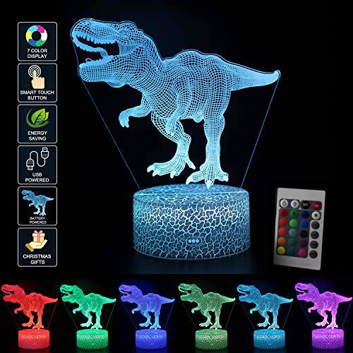 3D Dinosaurier LED Nachtlicht Illusion Lampe Jungen Kinder Deko Licht Stimmungslicht Nachttischlampe Fernbedienung ändern Touch Switch Schreibtisch Lampen Geburtstagsgeschenk