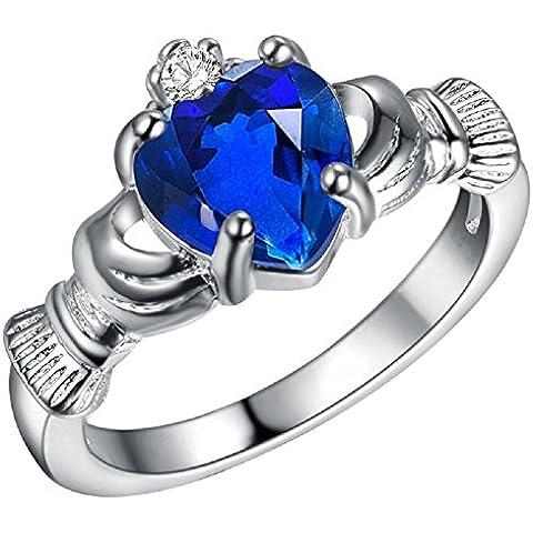 Bling Fashion placcato In argento 925, che sono In My Heart-Anello a forma di cuore, colore: blu