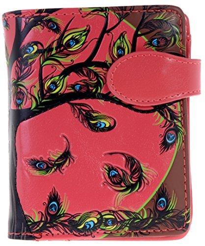 ne Geldbörse mit Reißverschluss Tasche Baum des Lebens Federn rot ()