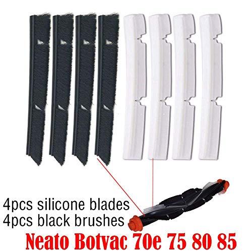SODIAL 4 x Silikon Klinge + 4 x Ersatz Bürste Neato Botvac 70e75 8085 Alle Zubeh?rteile der D-Serie für Verbundene Staubsauger