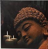 GILDE Bild 38516 LED Buddha Kerzen schwarz braun Weiss Kunststoff Leinwand Dekoration Geschenkidee