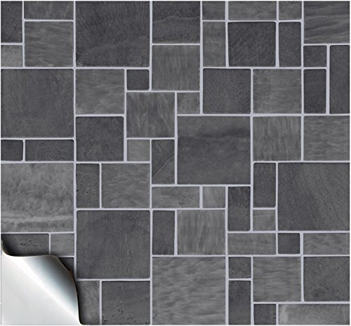 30 Dark Grey - Self Adhesive Mosaic Wall Tile Decals For 150mm (6 inch) Square Tiles –(TP31)- Realistic Looking Stick On Wall Tile Transfers Directly From the Manufacturer: TILE STYLE DECALS, No Middleman -- Peel and Stick on Tile to Transform your Kitche
