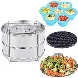 Zubehör für Instant Pot - Stapelbare Edelstahl Dampfgarer Einsatzpfannen, Gemüse Garbehälter, Gekochte Eier Silikonformen, Silikon Topfhalter, 4 Stk./Set für 5, 6, 8 QT Schnellkochtopf