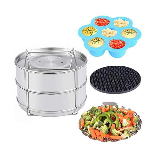 Accessories for Instant Pot – Stackable Food Steamer Insert Pans, Vegetable Steamer Basket, Silicone Egg Bites Molds, Silicone Pot Holder, 4 pcs/Set for 5,6,8QT Pressure Cooker Instant Pot Duo V2 51iT1GimC 2BL
