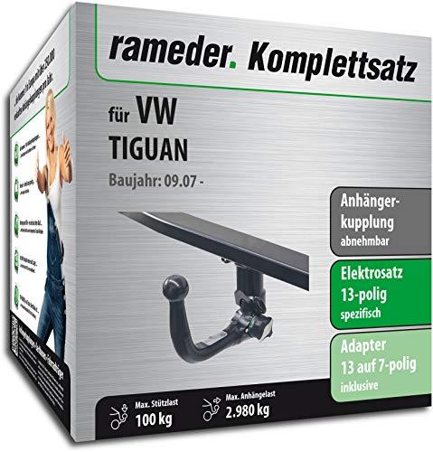 fahrradtraeger tiguan Rameder Komplettsatz, Anhängerkupplung abnehmbar + 13pol Elektrik für VW TIGUAN (113108-06397-1)