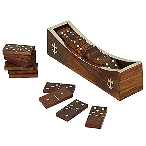 Wooden Domino Game, Open Boat Tray and Pieces, Handmade Board Game for Adults