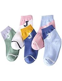 5 Par Calcetines de Canalé para Niños Algodón Invierno Calcetines Calientes con Print Alfabeto J, para Niños Niñas 3-5