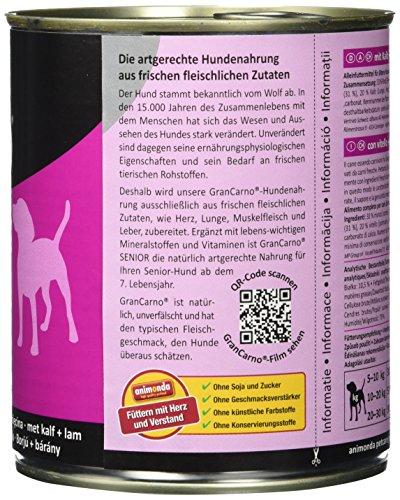 Animonda Gran Carno Hundefutter Senior mit Kalb + Lamm, 6er Pack (6 x 800 g) - 4