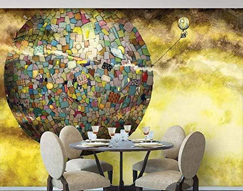 Tapete mit goldenem Sonnenschein, beleuchtet mehrfarbiger Karton, der die Planetenmalerei des Ballens verbindet, 200 * 140 cm ()