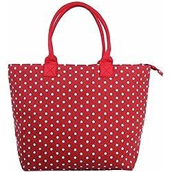 Bolso grande de lona para llevar al hombro, para mujer, totalmente forrado, ligero, para llevar la compra, para la playa y para vacaciones Multicolor Lunares - rojo Large